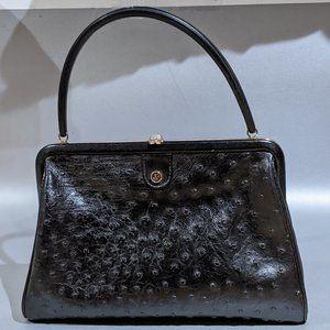 VINTAGE  ostrich leather black handbag